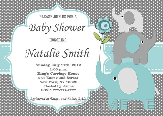 Boy baby shower invitation elephant baby shower invitation boy baby shower invitation elephant baby shower invitation baby boy shower invitation baby shower invite 57taf free thank you card filmwisefo Images