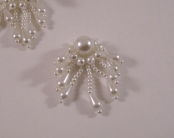 Tiny Pearl White Fringed Beaded Applique--One Piece