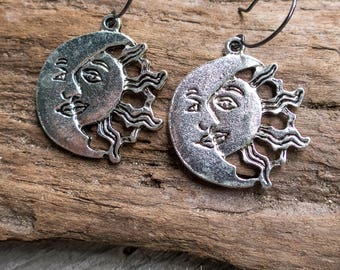 Solar Eclipse Earrings | Eclipse 2017 | Sun and Moon Earrings | Beach Wedding Earrings | Celestial Earrings | Jewelry For Her Under 15