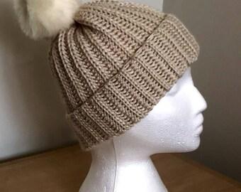 Women's Faux Fur Pompom Hat - Faux Fur Hat - Crochet Faux Fur Winter Hat - Winter Pompom Hat - Gift for Her