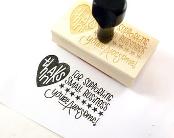 Shop Exclusive rubber stamp - Thanks for Supporting Small Business - You are Awesome - with stars - modern calligraphy, hand letterering