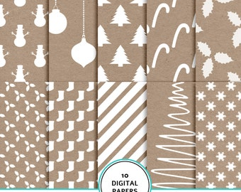 Christmas Digital scrapbook paper, kraft and white, Christmas scrapbook paper,  printable Christmas pattern, Christmas background, kraft