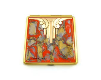 Art Deco Compact Mirror Inlaid in Hand Painted Enamel Orange Quartz with Color and Personalized Option