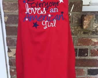Red Everyone Loves an American Girl Apron
