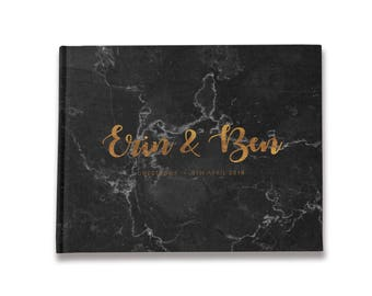 Marble Guest Book, Landscape Guest Books, Black Wedding Guestbook, Modern Guest Book, Color Choices Available, GB 156