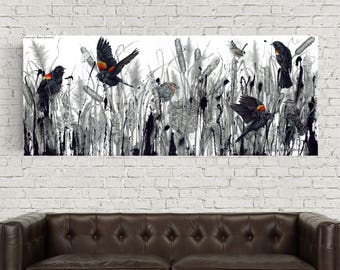 Karri Jamison Canvas PRINT, Title: Red-Winged Blackbirds In A Marsh, GICLEE PRINT on Canvas 12x30 inches