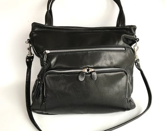 sale - 50% OFF- leather willow bag in black/silver
