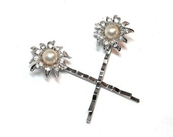 Pearl Rhinestone Bride Bobby Pins Wedding Vintage Findings