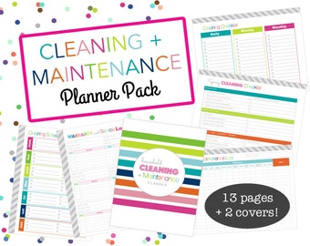 Cleaning Printable Planner Bundle, with Home Maintenance - INSTANT DOWNLOAD - Home Management, Organization, Homekeeping