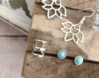 Lotus flower earring set, Turquoise post Earrings, ear climber, posts studs earrings, Yoga style earrings, earrings set