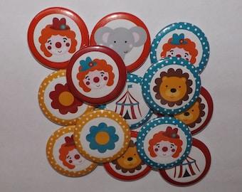 """Circus 1.5"""" Buttons (set of 10)"""