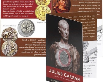 REPRODUCTION Roman coin, Julius Caesar Denarius in information pack [SRCP1P]