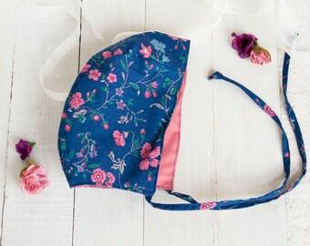 Baby Bonnet Girl, Floral Bonnet, Reversible Bonnet, Baby Bonnet, Photo Prop, Baby Shower Gift, Handmade, Toddler Bonnet, Classic Bonnet, Cap