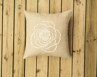 Needlepoint pattern ROSE - cross stitch pattern,french country,embroidery pattern,burlap pillows,cushion,pillow cover,home decor,hessian,diy