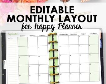 Happy Planner Monthly Printable, Editable Happy Planner Inserts Printable Monthly Pages, Planning Inserts, Editable Month Printables, 7 x 9
