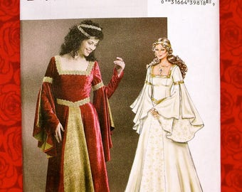 Butterick Sewing Pattern B4571, Medieval Long Gown, Madrigal Dress, Sizes 6 8 10 12, Historical Renaissance Reenactment, SCA Costume, UNCUT