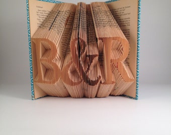Custom initials folded book - Serif Font