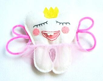 Tooth Fairy pillow for girls, felt, with pocket, kids, children gift