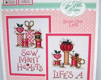 Sue Hillis Counted cross stitch pattern, Hearts and Spools from the Spoolies Collection