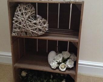 Vintage Style WOODEN APPLE CRATE with 2 internal shelves, Handmade, Sturdy Contruction, Shabby Chic 2 Shelf Unit, Display Shelf