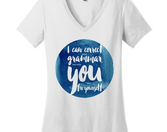 Funny Grammar Womens V Neck Shirts Plus Size Shirts Funny Grammar Shirts Funny Shirts for Women Gifts for Sister Gifts for Mom Gift