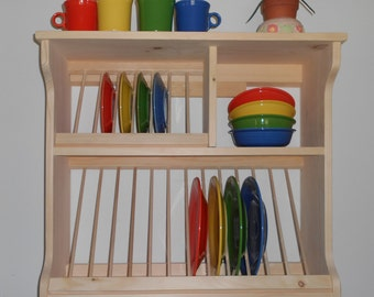 Plate Rack Solid Wood Pine Dish