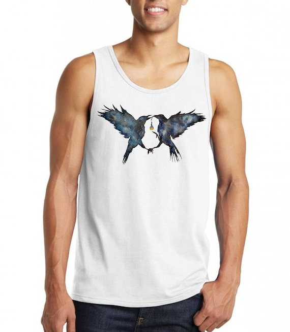 Magic Ravens | Unisex American Apparel Tank top | Galaxy background crows  | Graphic shirt | Spirit Animal totem| Shamanism | ZuskaArt