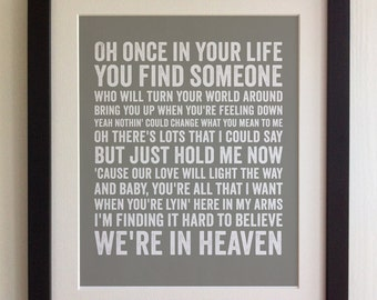 FRAMED Lyrics Print - Bryan Adams, Heaven - 20 Colours options, Black/White Frame, Wedding, Anniversary, Valentines, Fab Picture Gift