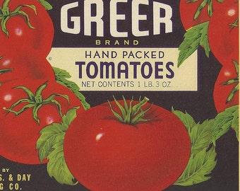 Original Unused Vintage Greer Brand Tomatoes Can Label Marshfield, Missouri