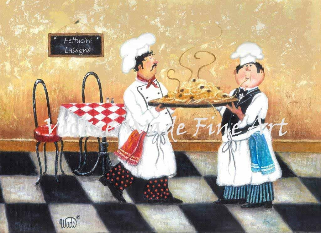 Fat Chefs Art Print chef paintings art kitchen art wall