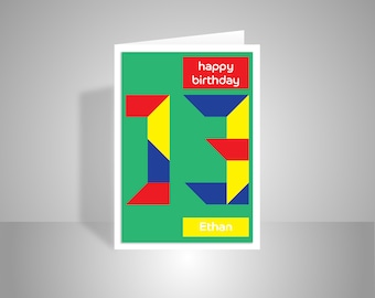 Personalised 13th birthday card for boy for girl, edit name 13 happy birthday card for him, thirteenth card for her friend edit message