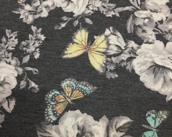 Micro French Terry Spandex Blend of Soft Rayon/Recycled Poly Spandex Beautiful Butterflies on Floral