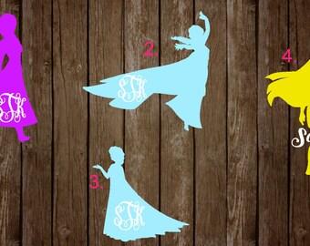 Princess Monogram Decals