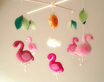 "Baby crib mobile, forest mobile, animal mobile , felt mobile ""Flamingo"""
