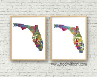 Florida Love & Home: Instant Digital Download Watercolor Style Wall Art Print
