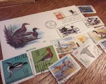 Ducks and Waterfowls postage stamps PLUS one First Day Cover
