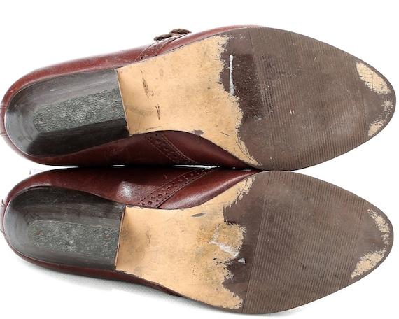 Western size Strap Hipster Heel Shoes Ankle Shoes UK Cuban 3 Monk 80s 5 Leather 36 Brown EUR Boho 5 Fringe Cowgirl Vintage rT0WnS6Exr