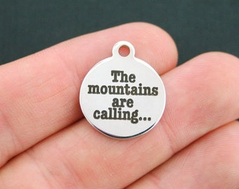 Hiking Stainless Steel Charm - Mountaineering - The Mountains are Calling... - Exclusive Line - Quantity Options  - BFS588