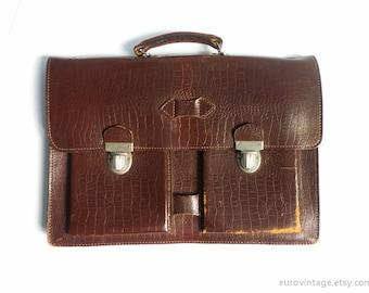 Vintage Brown Leather Briefcase / Vintage Document Case / Laptop Bag / Portfolio Bag
