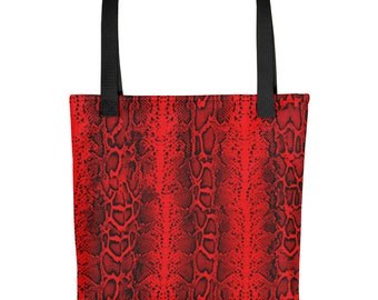 Snake Reptile Print Red Beach Bag Tote Rockabilly Punk Pin Up Burlesque Gothic Clothing Nu Goth Festival Clothing Rave Clothing Burning Man