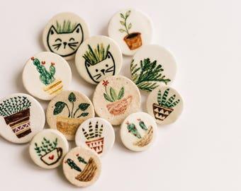 Cactus Brooch Pin, Cactus illustration, ceramic jewellery, ceramic cactus brooch, Plant jewelry, cactus pin, botanical jewelry. Terrarium