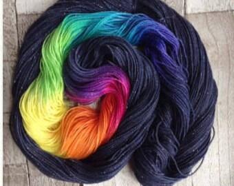 Hand dyed sparkle sock yarn/4 ply/ DK 'midsummer nights dream' double knitting/ superwash merino nylon stellina yarn wool