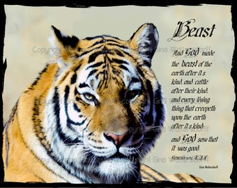 Tigers Face beast Genesis 1-25 nature art animal art Wall Decor Mens Birthday Gift tiger print orange black beige Gina Waltersdorff