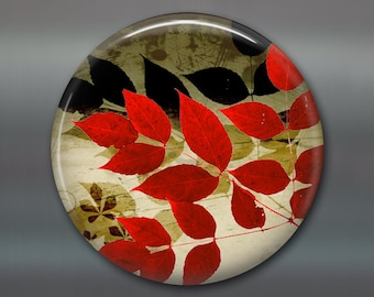 "3.5"" fall leaves fridge magnet, autumn decor, kitchen decoration, big magnet, red and black decor MA-307"