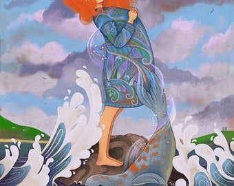 The Selkie 11X14 print - Selkie art transformation, power of change, embrace change, irish landscape, celtic myth irish seascape - Meluseena