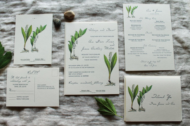 Lily Wedding Invitation Set Floral Wedding Invitation