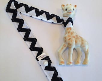 Toy Strap, Sophie Strap, Toy Tether, Sippy Cup Strap, Toy Leash, Teething Toy Strap, Black and White Chevron