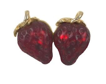 broche vintage de fraise rouge or / broche fantaisie alimentaire de fruits / gelée broche du ventre Vintage bijoux / bijoux fantaisie