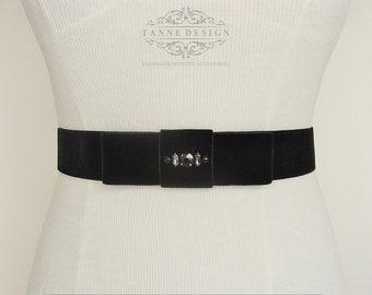 Black Velvet Bow Belt Bridal Sash Black Bead Bridal Belt Black Sash Velvet Belt Sash Black Rhinestone Sash Velvet Ribbon Wedding Dress Belt