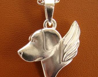 Large Sterling Silver Labrador Retriever Angel Pendant